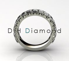 Emarald Shape Diamond Eternity Ring with Natural Diamonds VVS-EF, 14K White Gold or Yellow or Rose. USD 7060.(IND Rs. 4,66,000/-)