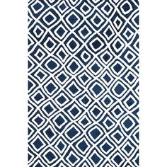 Microfiber Woven Harlow Navy Rug (7'6 x 9'6) - Overstock™ Shopping - Great Deals on Alexander Home 7x9 - 10x14 Rugs
