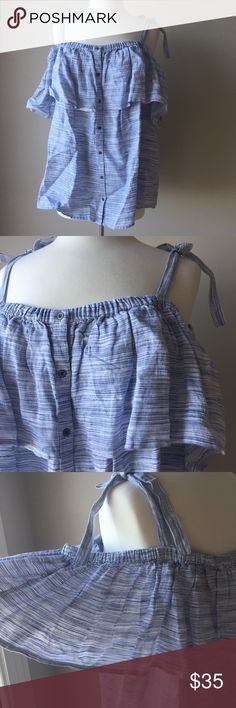 NWT Lucky Brand Off The Shoulder Blouse Blue New with Tag Lucky Brand Off the Shoulder Blouse. Size 3x. Lucky Brand Tops Blouses