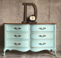 French Provincial Dresser/ Duck Egg Blue/ Antique Dresser/ #paintedfurniture #affiliate