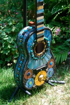 stained glass mosaic guitars | Mosaic Guitar Venus by NatureUnderGlass on Etsy