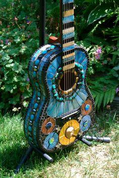 stained glass mosaic guitars | Mosaic Guitar Venus by NatureUnderGlass on Etsy