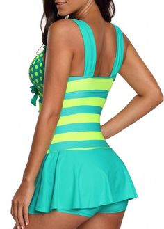 58405a30d Cyan Wide Strap Polka Dot Swimdress and Shorts | Rosewe.com - USD $31.29  Tankini