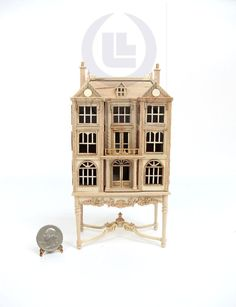 Miniature 1:144 Scale Doll House On Table / Dollhouse Cabinet [Unfinished] | Dolls & Bears, Dollhouse Miniatures, Furniture & Room Items | eBay!