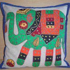 Vintage kussenovertrek olifant groen