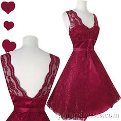 New Retro Satin Floral Lace Burgundy Red Wine Dress