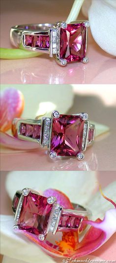 Extravagant Pink Tourmaline Diamond Ring, 4,52 cts. WG-18K - Visit: schmucktraeume.com - Like: https://www.facebook.com/pages/Noble-Juwelen/150871984924926