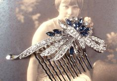 Great Gatsby Sapphire Blue & Clear Rhinestone Bridal Hair Comb, Art Deco Silver Brooch to 1920s Wedding Accessory, Something Navy Head Piece by AmoreTreasure