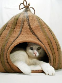 Just look at this kitty hanging out in his felted cat cave.  Made with felting techniques using water and soap this cat bed is, obviously, a hit with kitties. Spiffy cat stuff?  YES!