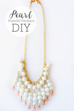 Beautiful Pearl Waterfall Necklace #tutorial from Oh Everything Handmade #jewelry #howto