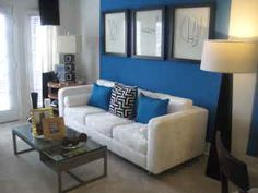 apartment decorating on a budget  love the coordinating pillows and wall.