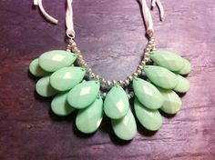 Great find:  Mint green teardrop layered necklace.