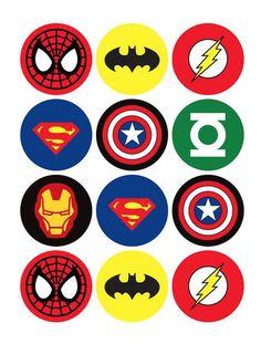 Super Hero Icing Sheet Edible Toppers Superhero Cupcake