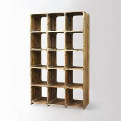"""Reclaimed Pine Bookcase @ WestElm ~ """"Made of FSC®-certified reclaimed pine that bears the knots and imperfections of its previous life, the Bleached Pine Bookcase is a rugged beauty. The open shelves offer plenty of space for displaying books, decorative objects and more."""""""