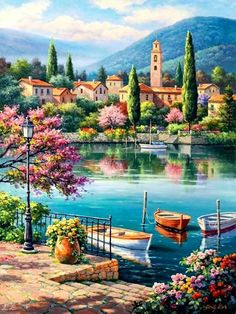 HandPainted European style Oil Painting On Canvas Mediterranean Sea Seascape Oil Canvas Painting Wall Art Picture forLiving Room Oil Painting On Canvas, Diy Painting, Painting & Drawing, Canvas Art, Landscape Art, Landscape Paintings, Belle Image Nature, 5d Diamond Painting, Beautiful Paintings