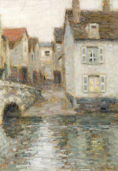 Henri le sidaner (1862-1939)le pont au crépusculehuile sur panneausignée en bas à droite36 x 26,5 cm14 ¼ x 10 7/16 in