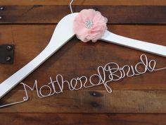 Personalized Bridal Dress Hanger with Rhinestone Chiffon Flower - Wedding Hanger, Wire Name Hanger, Bride Hanger,Mother of Bride