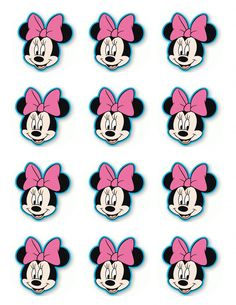 "2.5"" Minnie Mouse Cupcake Edible Icing Toppers #1"