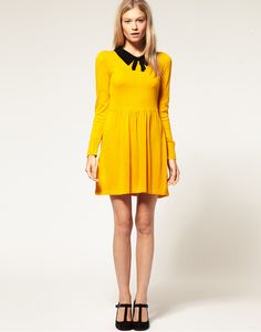 [US$42.99] - Yellow Cotton Long-sleeved Dress with Crochet Collar : ThatsPoint.com