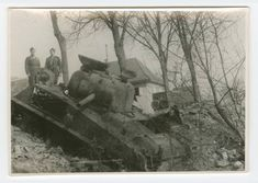 M4A3 from the 23rd TB, 12th AD, knocked out during the battle of Herrlisheim, France, Jan. 1945. Photo took during a return to the battle site Oct. 1945. The Sherman has been harvested for applique armor.