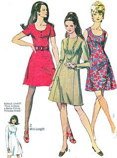 1970s Dress Pattern Simplicity 8884 Princess Seam by paneenjerez, $12.00 Middle pattern..change to 3/4 sleeve