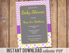 Chevron Girls Baby Shower Invitations modern by JoyPribishDesigns, $12.00