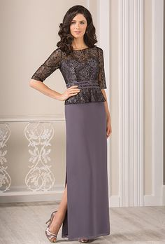 Brides: Jade by Jasmine. Georgette sheath with floral patterned half-sleeve top.