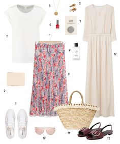 What To Wear: (500) Days of Summer |White top+floral midi skirt+white sneakers+nude clutch+sunglasses. Ivory longsleeved maxi dress+burgundy flat sandals+straw tote bag. Summer casual Outfits 2016