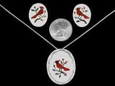 Navajo Pendant Earrings Coral Cardinal Red Bird Inlay Sterling Silver Indian Z