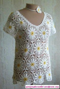 Blusa com um belo padrão floral! - Mi Rincon de Crochet