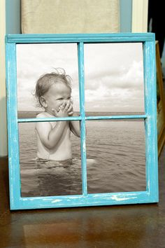 Old Vintage Window including your Photo, Distressed Chalk Paint Finish, Beach Blue