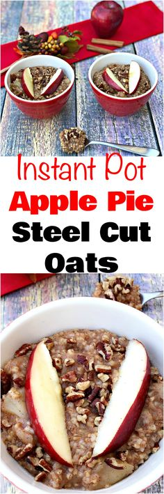 Instant Pot Apple Pie Steel Cut Oats Oatmeal is a vegan, dairy-free, refined-sugar free pressure cooker recipe that is perfect for overnight, make-ahead breakfast, and meal prep. This healthy dish is quick and easy to make. Make Ahead Breakfast, Healthy Breakfast Recipes, Brunch Recipes, Breakfast Ideas, Instant Pot Pressure Cooker, Pressure Cooker Recipes, Pressure Cooking, Slow Cooker, Dairy Free Overnight Oats