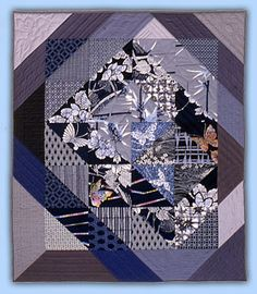 Roberta Horton: Workshops-Quilts Japanese Patchwork - Winged Undercurrents 43x50 1982 -The beautiful use of Japanese Yukata cloth which is traditionally used for summer kimonos