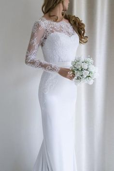 Elegant Lace Long Sleeves Mermaid White Long Wedding Dress with Train-Pgmdress