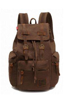 Vintage Brown Hiking Travel Military Backpack