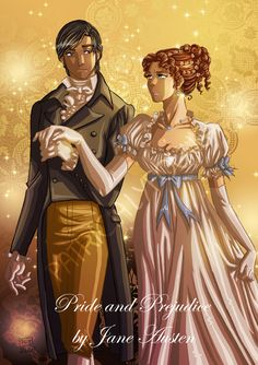 Elisabeth et Mr. Darcy, protagonistes du célèbre roman Orgueuil et Préjugés de Jane Austen, dessinés par PatriciaLyfoung