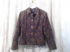 Vintage Size 14 Womens Paisley Corduroy Blazer by LandofBridget