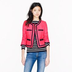 """NEW J.Crew Pink Double Serge Wool Lady Jacket NWOT - this pink berry """"double serge wool lady jacket"""" from Jcrew features navy blue trim, gold button closures and is fully lined. Features a cropped style and cropped sleeves. Measurements: Bust: 34"""", Total Length: 19.5"""", Sleeves: 21"""" J. Crew Jackets & Coats Blazers"""