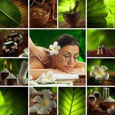 massagem: Spa tema foto colagem composto por imagens diferentes Banco de Imagens