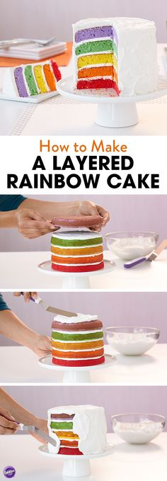 Learn how to make this pretty layered rainbow cake that's perfect for any occasion including baby showers, birthdays, and anniversaries! Use the Wilton Easy Layers Cake Pan Set for a quick and easy way to make a layered cake.