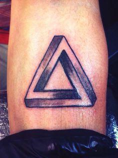 Tattoo men man impossible triangle forearm arm shape small idea