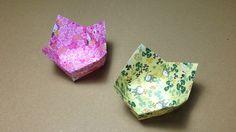 【折り紙(おりがみ)】 実用 箱 花のうつわの折り方 作り方 入れ物