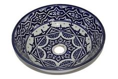 Old Fes Ceramic Hand painted Moroccan Bathroom Sink Basin - Round, Painted inside out - Di 40 cam H 16 cm - LIMITED OFFER -