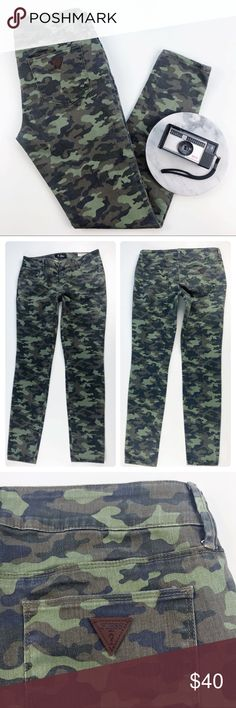 "Guess Emma Fit Camo Skinny Mid Rise Jegging Jeans Guess ""Emma Fit"" Mid Rise Jegging Skinny Jeans in camo print. Excellent condition. Size 30 Waist, side to side across the back waistband: 16"" Inseam: 30"" Rise: 9"" Leg Opening: 5.5"" Inventory BB14 Guess Jeans Skinny"