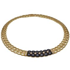 Van Cleef & Arpels Onyx Diamond Gold Choker Necklace | From a unique collection of vintage choker necklaces at https://www.1stdibs.com/jewelry/necklaces/choker-necklaces/