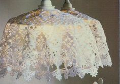 Crochet lamp shade. Perfect for boring rental home/apartment pendant lamps. Just remove shade when you move...