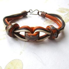 Beaded leather copper bracelet lampwork beads by THEAjewellery, £35.00