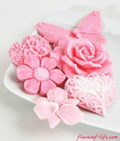 Spring Flowers In #Pink_Soap Set - Beautiful Decorative #Flower_Soap Gift Set http://flowerof-life.com/