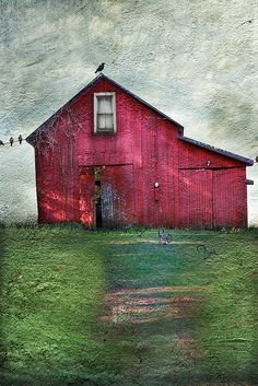 AMAZING barn quilt - lots of quilting - it looks like a painting! Gorgeous ----I want to make a barn quilt House Quilts, Barn Quilts, Landscape Quilts, Landscape Art, Quilt Modernen, Red Barns, Bel Air, Fabric Art, Architecture