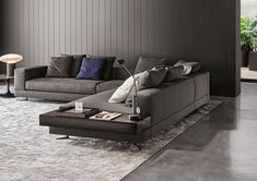 Minotti White sectional with attached leather table : Fabric : 06 Elephant Color: Pitti ; Leather table Name: Pelle Extra Color 949 Visone Living Room Modern, Living Room Sofa, Living Room Interior, Living Room Designs, Living Room Decor, Living Spaces, Minotti Furniture, Sofa Furniture, Furniture Design